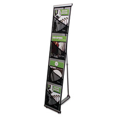 Deflect-o - mesh floor stand, 4 compartments, 10w x 14-1/2d x 54h, silver, sold as 1 ea