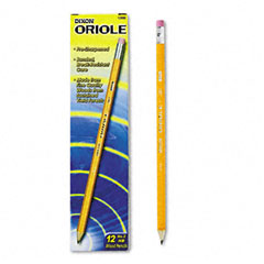 Dixon - oriole woodcase pre-sharpened pencil, hb #2, yellow barrel, 12/pack, sold as 1 dz