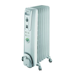 Delonghi - comfortemp oil-filled radiator, off-white, 13.8 x 9.1 x 25.2, sold as 1 ea