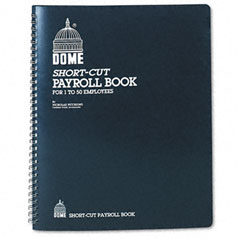 Dome - payroll record, single entry system, blue vinyl cover, 8 3/4 x11 1/4 pages, sold as 1 ea