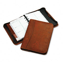 Day-timer - aviator cowhide leather zippered organizer starter set, 5-1/2 x 8-1/2, dark tan, sold as 1 ea