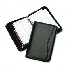 Day-timer - avalon leatherlike vinyl zippered organizer starter set, 3-3/4 x 6-3/4, black, sold as 1 ea