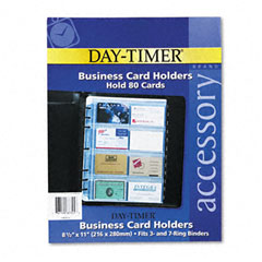 Day-timer - business card holders for looseleaf planners, 8 1/2 x 11, 5/pack, sold as 1 pk