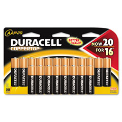 Duracell - coppertop alkaline batteries, resealable, aa, 20/pack, sold as 1 pk