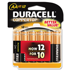 Duracell - coppertop alkaline batteries, aa, 12/pack, sold as 1 pk