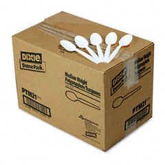 Dixie - plastic tableware, mediumweight teaspoons, white, 1000/carton, sold as 1 ct