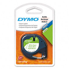 Dymo - letratag paper label tape cassettes, 1/2in x 13ft, white, 2/pack, sold as 1 pk