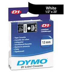 Dymo - d1 standard tape cartridge for dymo label makers, 1/2in x 23ft, white on black, sold as 1 ea