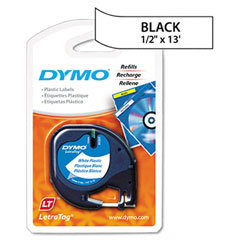 Dymo - letratag plastic label tape cassette, 1/2in x 13ft, white, sold as 1 ea