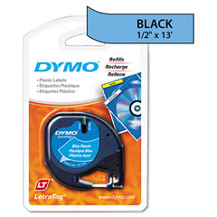 Dymo - letratag plastic label tape cassette, 1/2in x 13ft, ultra blue, sold as 1 ea