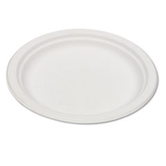 Eco-products - compostable sugarcane dinnerware, 6-inch plate, natural white, 50/pack, sold as 1 pk