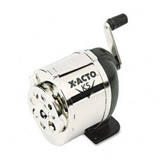 X-acto - model ks manual pencil sharpener, table- or wall-mount, black/chrome, sold as 1 ea