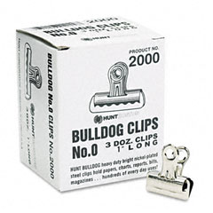 Boston - bulldog clips, steel, 5/16-inch capacity, 1-inchw, nickel-plated, 36/box, sold as 1 bx