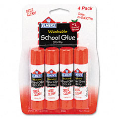 Elmer's - washable school glue sticks, .24 oz, permanent stick, 4/pack, sold as 1 pk