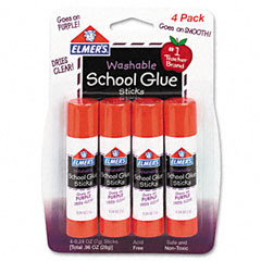 Elmer's - washable school glue sticks, purple, .24 oz, repositionable stick, 4/pack, sold as 1 pk