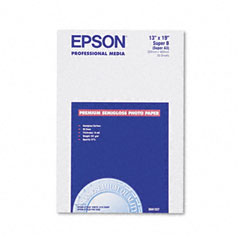 Epson - premium photo paper, 68 lbs., semi-gloss, 13 x 19, 20 sheets/pack, sold as 1 pk