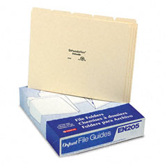 Pendaflex - top tab file guides, blank, 1/5 tab, 18 point manila, letter, 100/box, sold as 1 bx