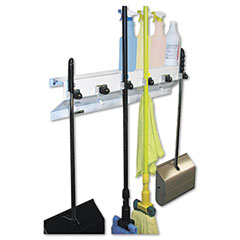 "Ex-Cell 333-6WHT2 The Clincher Mop & Broom Holder, 34""W X 5.5""D X 7.5""H, White Gloss, Each"