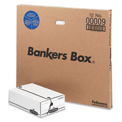 Bankers box - liberty basic storage box, check/voucher, 9 x 14-1/4 x 4, white/blue, 12/carton, sold as 1 ct