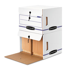 Bankers box - side-tab file storage box, letter, 15-1/4 x 13-1/2 x 10-3/4, white/blue, 12/ctn, sold as 1 ct