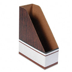 Bankers box - corrugated cardboard magazine file, 4 x 9 x 11 1/2, wood grain, 12/carton, sold as 1 ct
