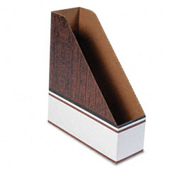 Bankers box - corrugated cardboard magazine file, 4 x 11 x 12 3/4, wood grain, 12/carton, sold as 1 ct