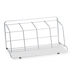 Fellowes - four-section wire catalog rack, metal, 16 1/2 x 10 x 8, silver, sold as 1 ea