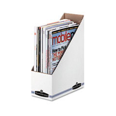 Bankers box - corrugated cardboard magazine file, 4 x 9 1/4 x 11 3/4, white, 12/carton, sold as 1 ct