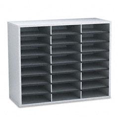 Fellowes - fiberboard literature sorter, 24 sections, 29 x 11 7/8 x 23 3/4, dove gray, sold as 1 ea