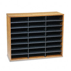 Fellowes - fiberboard literature sorter, 24 sections, 29 x 11 7/8 x 23 3/4, medium oak, sold as 1 ea