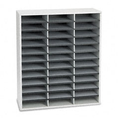 Fellowes - fiberboard literature sorter, 36 sections, 29 x 11 7/8 x 34 3/4, dove gray, sold as 1 ea