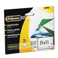 Fellowes 52008 Laminating Pouches, 5 Mil, 3-1/2 X 5-1/2, Index Card Size, 25/Pack