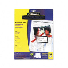 Fellowes 5208401 Clear Laminating Pouch Assortment Kit, 3 Mil, Assorted Sizes, 52/Pack