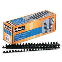 Fellowes - plastic comb bindings, 3/8-inch diameter, 55 sheet capacity, black, 100 combs/pack, sold as 1 pk