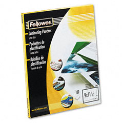 Fellowes 52454 Clear Laminating Pouches, 3 Mil, 9 X 11-1/2, 100/Pack