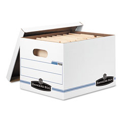 Bankers box - stor/file storage box, letter/legal, lift-off lid, white, 6/pack, sold as 1 pk