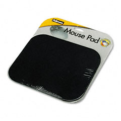 Fellowes - polyester mouse pad, nonskid rubber base, 9 x 8, black, sold as 1 ea