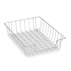 Fellowes - workstation letter desk tray organizer, wire, silver, sold as 1 ea