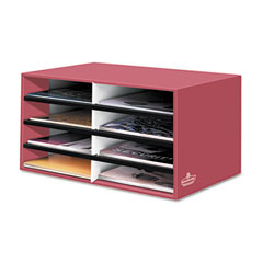 Fellowes 6140301 Decorative Eight Compartment Literature Sorter, Letter Size, Persimmon Red