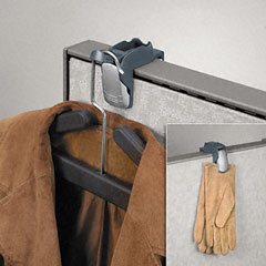 Fellowes 7501101 Pro Series Partition Additions Coat Hook And Clip, 1 5/8 X 3, Slate Gray