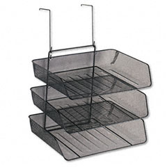 Fellowes 75902 Mesh Partition Additions Three-Tray Organizer, 13 3/8 X 14 X 17 5/8, Black