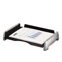 Fellowes - side load letter desk tray, plastic, black/silver, sold as 1 ea
