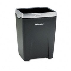 Fellowes - office suites divided pencil cup, plastic, 3 1/16 x 3 1/16 x 4 1/4, black/silver, sold as 1 ea