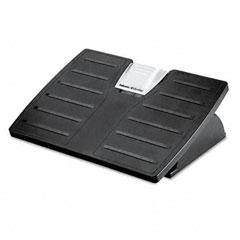 Fellowes 8035001 Adjustable Locking Footrest W/Microban, Black/Silver