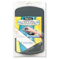 Fellowes - gel wrist support and mouse pad w/antimicrob protection, graphite/blk, sold as 1 ea
