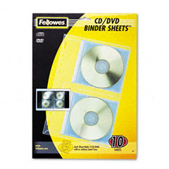 Fellowes - cd/dvd protector sheets for three-ring binder, 10/pack, sold as 1 pk