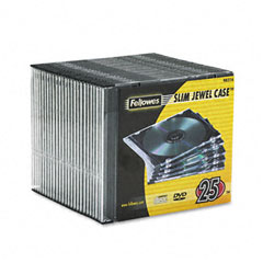 Fellowes - thin jewel case, clear/black, 25/pack, sold as 1 pk