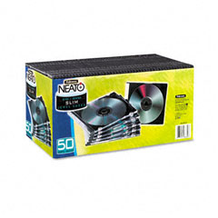 Fellowes - thin jewel case, clear/black, 50/pack, sold as 1 pk