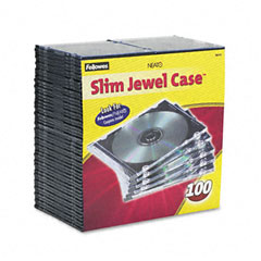 Fellowes - thin jewel case, clear/black, 100/pack, sold as 1 pk