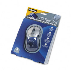 Fellowes - optical hd precision cordless gel mouse, five-button/scroll, blue/sliver, sold as 1 ea